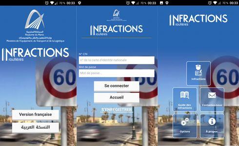 Application de consultation des infractions routiére développer par développée par le Ministère de l'Equipement, des Transports et de la Logistique
